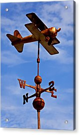 Biplane Weather Vane Acrylic Print by Garry Gay