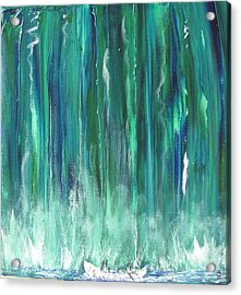 Birch Canoe At Waterfall Acrylic Print by Gary Smith