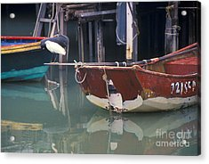 Bird On Boat Oar - Hong Kong Acrylic Print by Gordon Wood