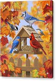 Bird Painting - Autumn Aquaintances Acrylic Print by Crista Forest
