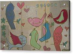 Birdie Tea Party Acrylic Print by Ashley Price