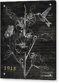 Black And Gold Hummingbirds 1 Acrylic Print by Debbie DeWitt