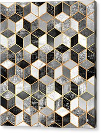 Black And White Cubes Acrylic Print by Elisabeth Fredriksson