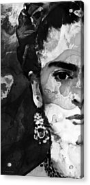 Black And White Frida Kahlo By Sharon Cummings Acrylic Print by Sharon Cummings