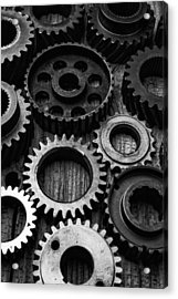 Black And White Gears Acrylic Print by Garry Gay