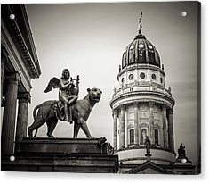 Black And White Photography - Berlin - Gendarmenmarkt Square Acrylic Print by Alexander Voss