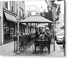 Black And White Sidewalk Cafe Acrylic Print by Mary Ann Weger