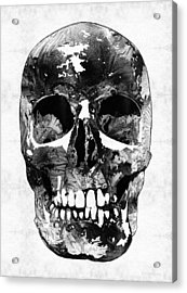 Black And White Skull By Sharon Cummings Acrylic Print by Sharon Cummings