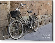 Black Bike On The Streets Of Lucca Italy Acrylic Print by Edward Fielding