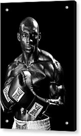 Black Boxer In Black And White 05 Acrylic Print by Val Black Russian Tourchin