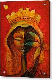 Black Flower Queen Acrylic Print by Elie Lescot