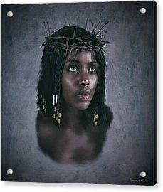 Black Jesus Portrait V Acrylic Print by Ramon Martinez