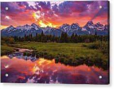 Black Ponds Sunset Acrylic Print by Darren White