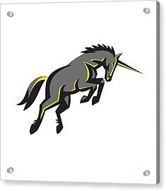 Black Unicorn Horse Charging Isolated Retro Acrylic Print by Aloysius Patrimonio