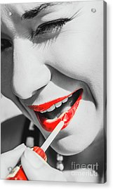 Black White And Red Lipgloss Pinup Acrylic Print by Jorgo Photography - Wall Art Gallery