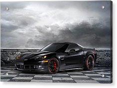 Black Z06 Corvette Acrylic Print by Peter Chilelli