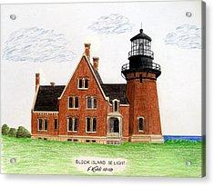 Block Island Se Lighthouse Acrylic Print by Frederic Kohli