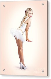 Blond Fashion Pin-up Woman In White Dancer Dress Acrylic Print by Jorgo Photography - Wall Art Gallery
