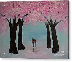 Blossoming Romance Acrylic Print by Leslie Allen