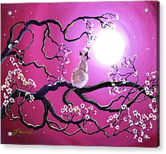 Blossoms In Fuchsia Moonlight Acrylic Print by Laura Iverson