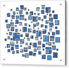 Blue Abstract Rectangles Acrylic Print by Frank Tschakert