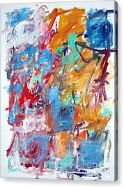 Blue And Orange Abstract Acrylic Print by Michael Henderson