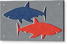 Blue And Red Sharks Acrylic Print by Linda Woods
