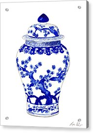 Blue And White Ginger Jar Chinoiserie 10 Acrylic Print by Laura Row
