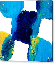 Blue And Yellow Interactions  Acrylic Print by Amy Vangsgard