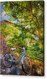 Blue Bicycle Acrylic Print by Debra and Dave Vanderlaan