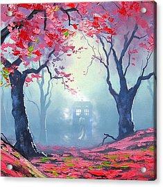 Blue Box Cloud Sakura Painting  Acrylic Print by Koko Priyanto