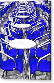 Blue Chairs In Venice Acrylic Print by Mel Steinhauer