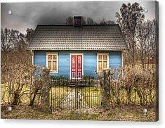 Blue Cottage Acrylic Print by Elisabeth Van Eyken