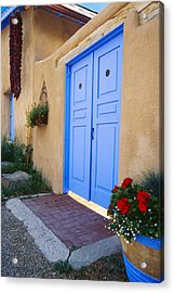 Blue Door Of An Adobe Building Taos New Mexico Acrylic Print by George Oze