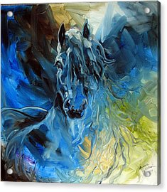 Blue Ghost  Equine Art Original Oil Acrylic Print by Marcia Baldwin