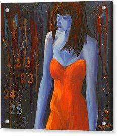 Blue Girl In Red Dress Acrylic Print by Lynn Chatman