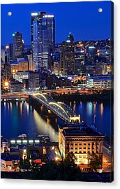 Blue Hour Pittsburgh Acrylic Print by Frozen in Time Fine Art Photography