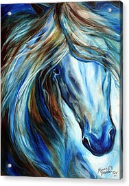 Blue Mane Event Equine Abstract Acrylic Print by Marcia Baldwin