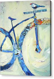 Blue Mt Bike And Bird Acrylic Print by Shelli Walters