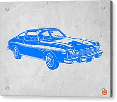 Blue Muscle Car Acrylic Print by Naxart Studio
