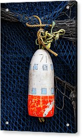 Blue Net And Orange And White Buoy Acrylic Print by Carol Leigh