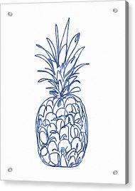 Blue Pineapple- Art By Linda Woods Acrylic Print by Linda Woods