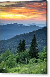 Blue Ridge Parkway Nc Landscape - Fire In The Mountains Acrylic Print by Dave Allen