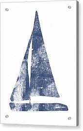 Blue Sail Boat- Art By Linda Woods Acrylic Print by Linda Woods