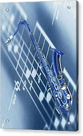 Blue Saxophone Acrylic Print by Norman Reutter