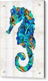 Blue Seahorse Art By Sharon Cummings Acrylic Print by Sharon Cummings