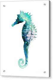 Blue Seahorse Watercolor Poster Acrylic Print by Joanna Szmerdt