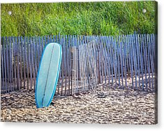 Blue Surfboard At Montauk Acrylic Print by Art Block Collections