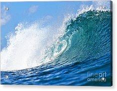 Blue Tube Wave Acrylic Print by Paul Topp