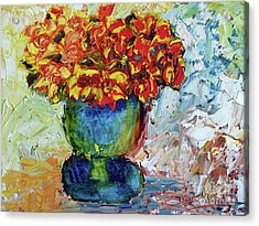 Blue Vase Acrylic Print by Lynda Cookson